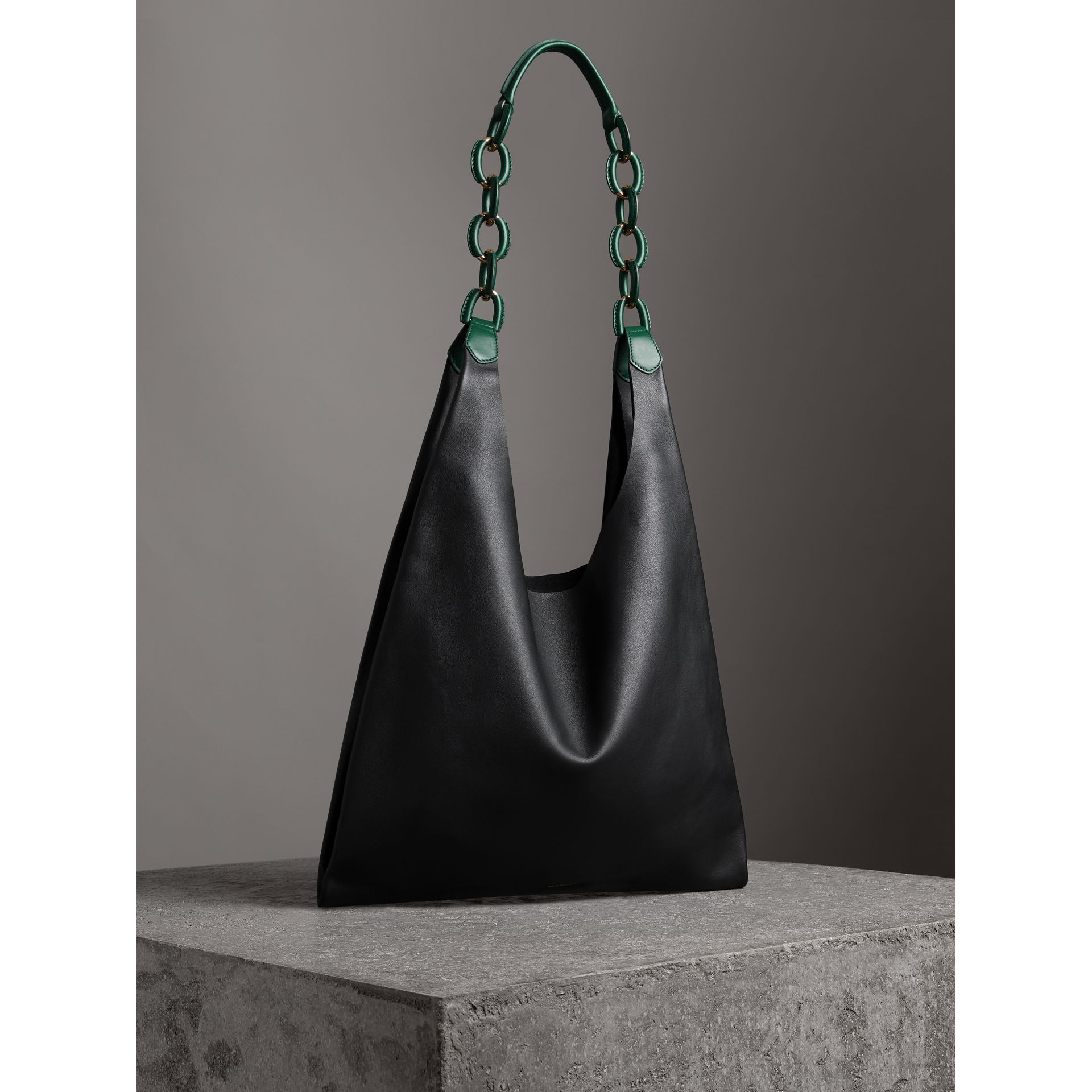Medium Two-tone Leather Shopper in Black - Women | Burberry Australia - gallery image 4