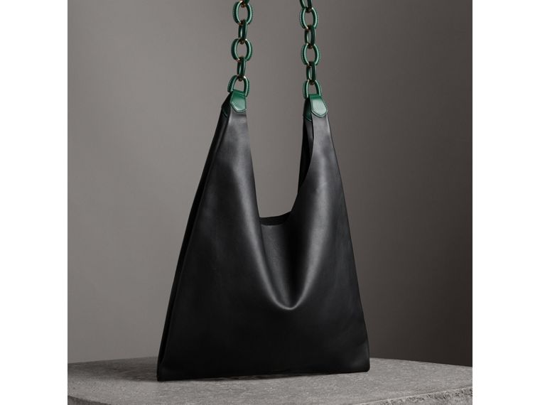 Medium Two-tone Leather Shopper in Black - Women | Burberry - cell image 4
