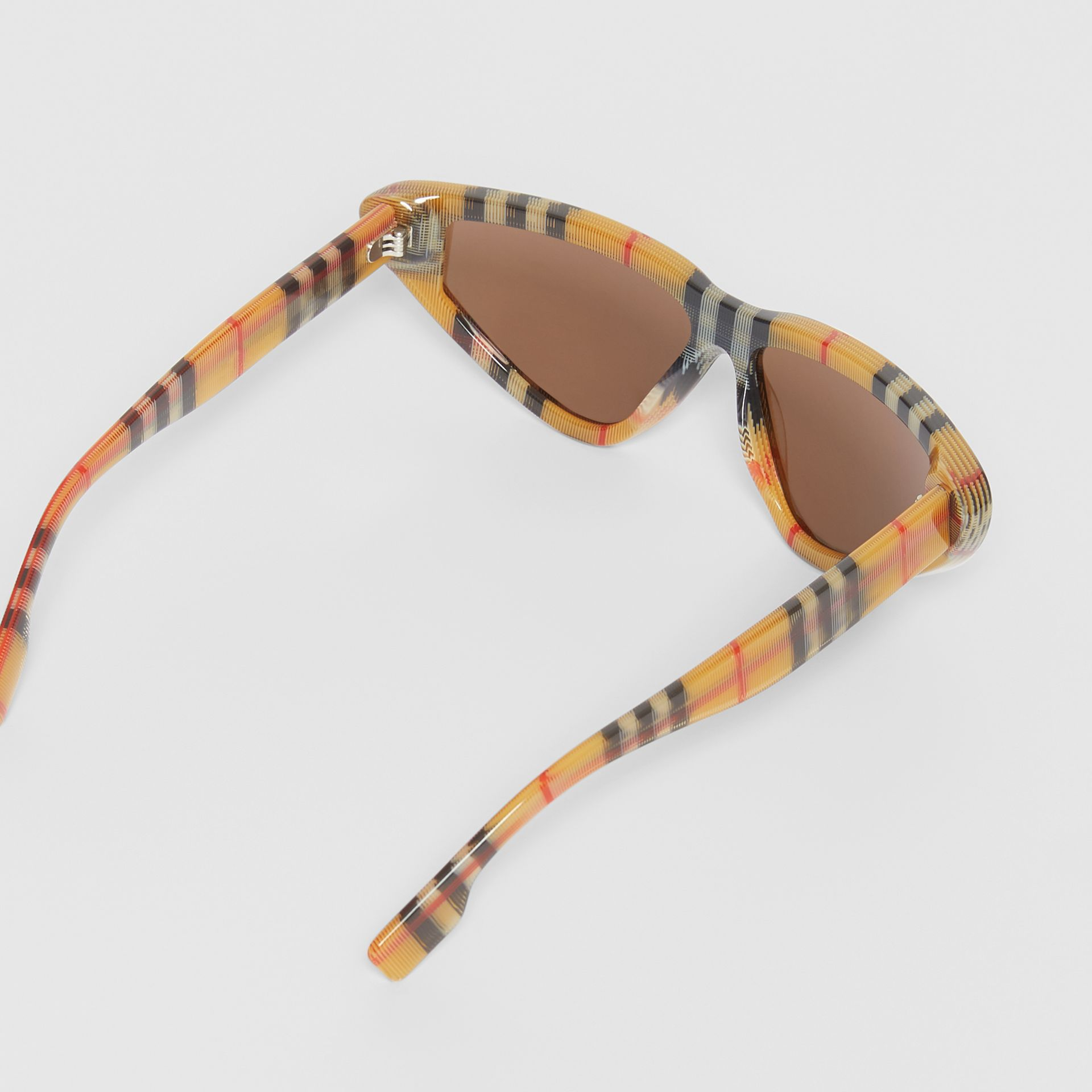 Vintage Check Triangular Frame Sunglasses in Antique Yellow | Burberry Australia - gallery image 4