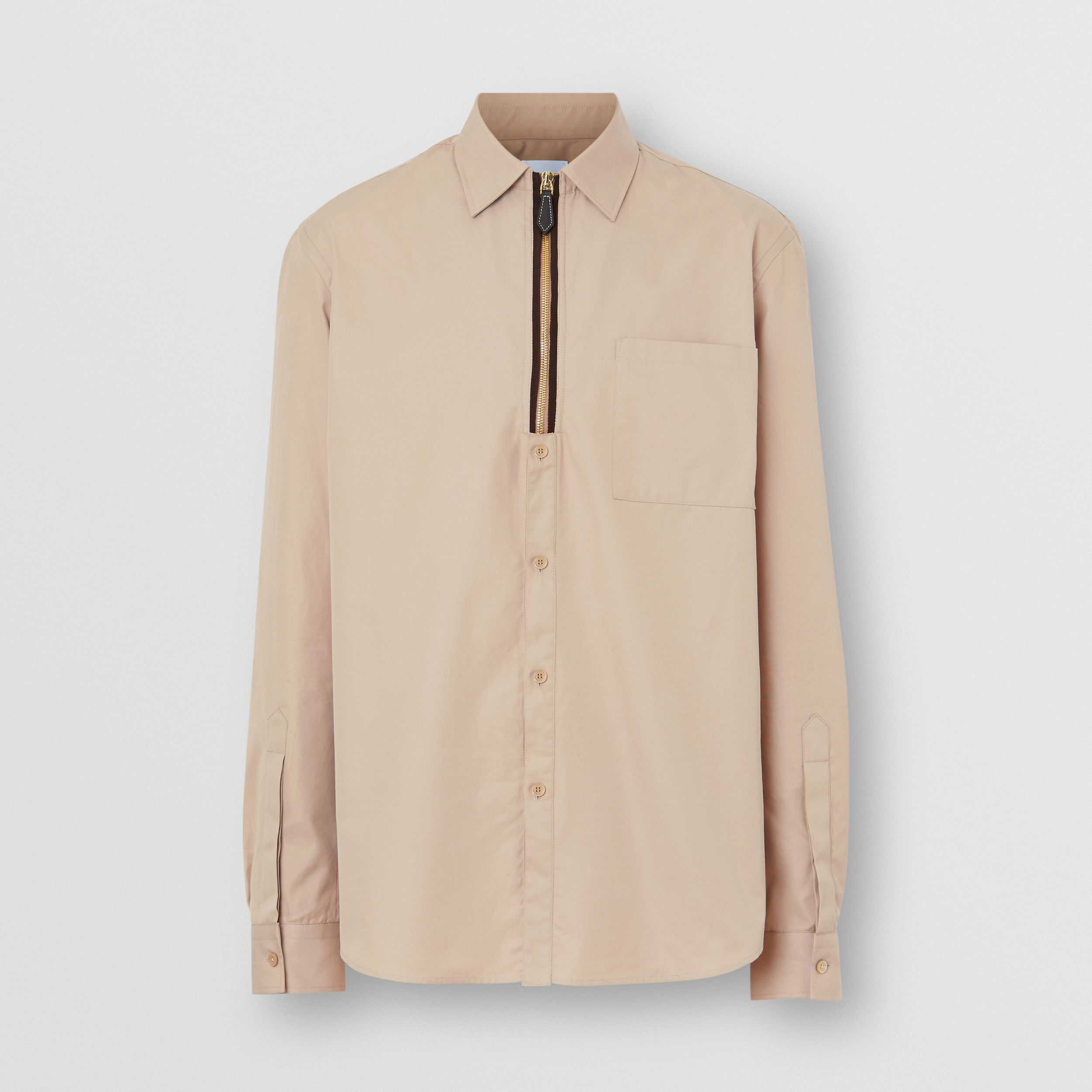 Classic Fit Zip Detail Cotton Twill Shirt in Soft Fawn - Men | Burberry - 4