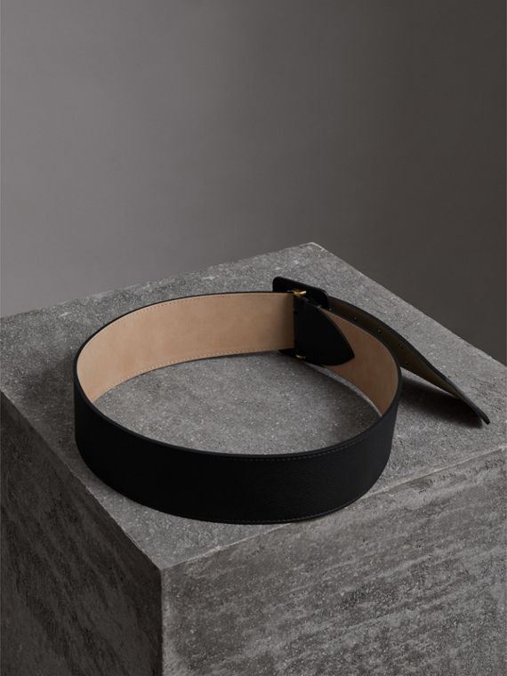 Double Pin Buckle Leather Belt in Black - Women | Burberry Australia - cell image 3