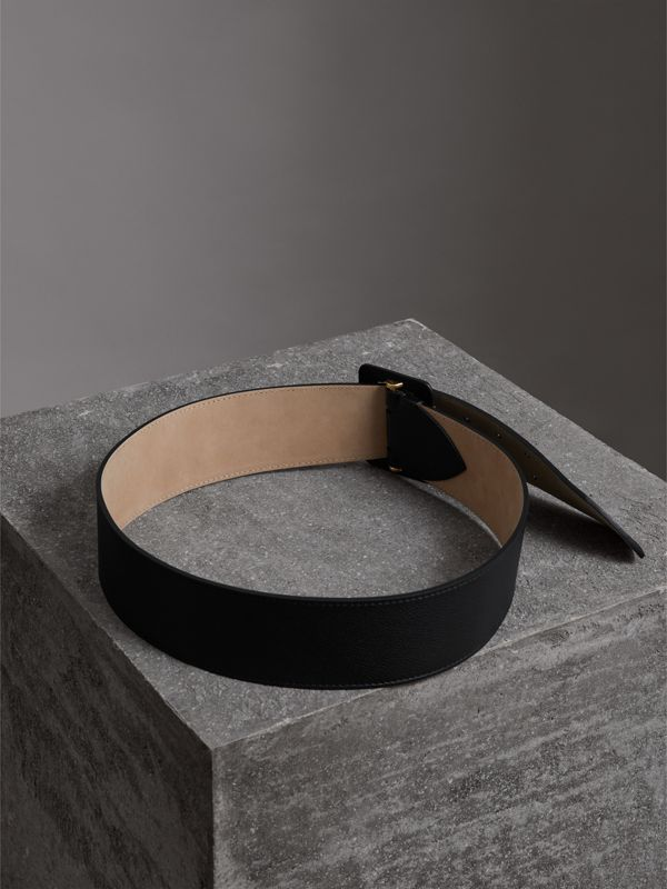 Double Pin Buckle Leather Belt in Black - Women | Burberry - cell image 3
