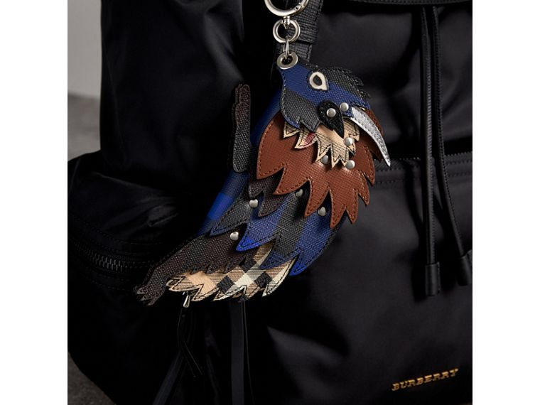 The Bull – Leather and Check Pouch in Bright Lapis - Men | Burberry Singapore - cell image 4