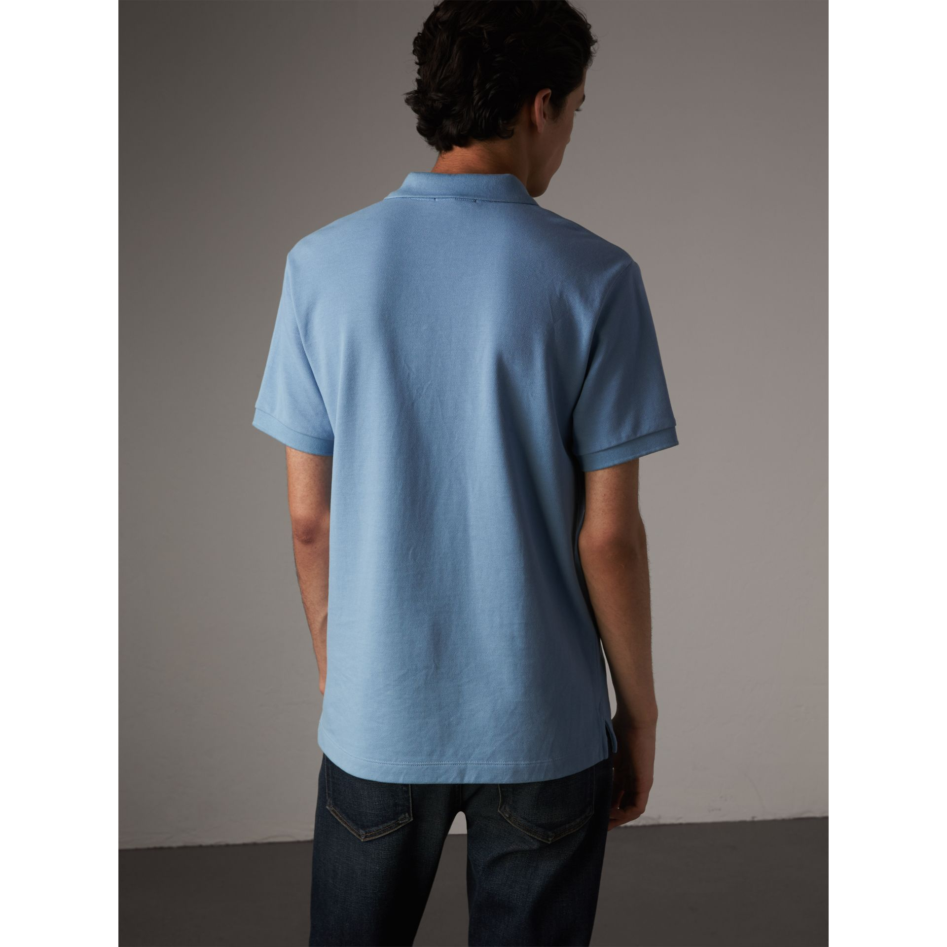 Check Placket Cotton Piqué Polo Shirt in Pale Blue - Men | Burberry - gallery image 2
