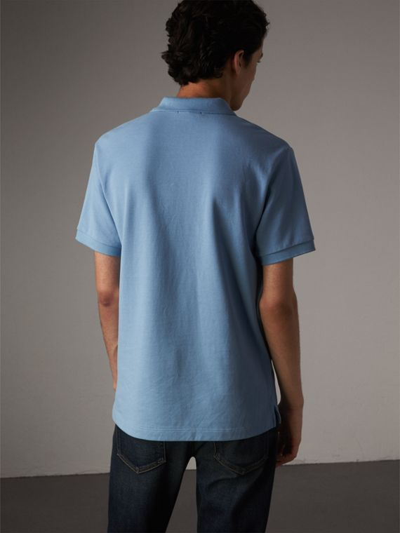 Check Placket Cotton Piqué Polo Shirt in Pale Blue - Men | Burberry - cell image 2