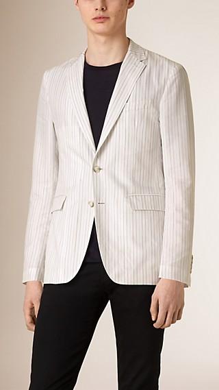 Slim Fit Striped Cotton Silk Blend Jacket