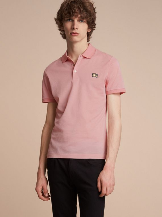 Cotton Piqué Polo Shirt in Chalk Pink