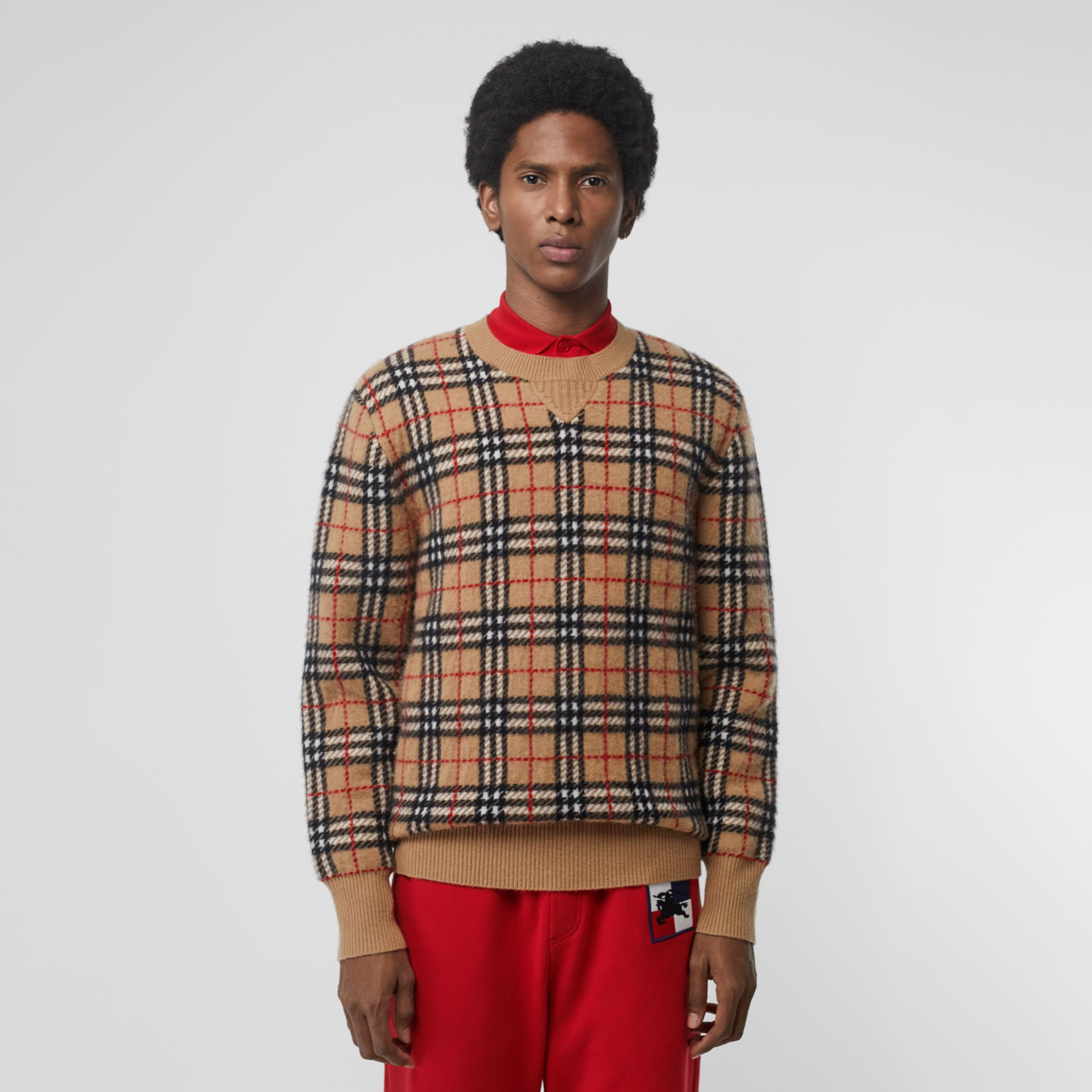 Vintage Check Cashmere Jacquard Sweater in Camel - Men | Burberry United States - gallery image 0