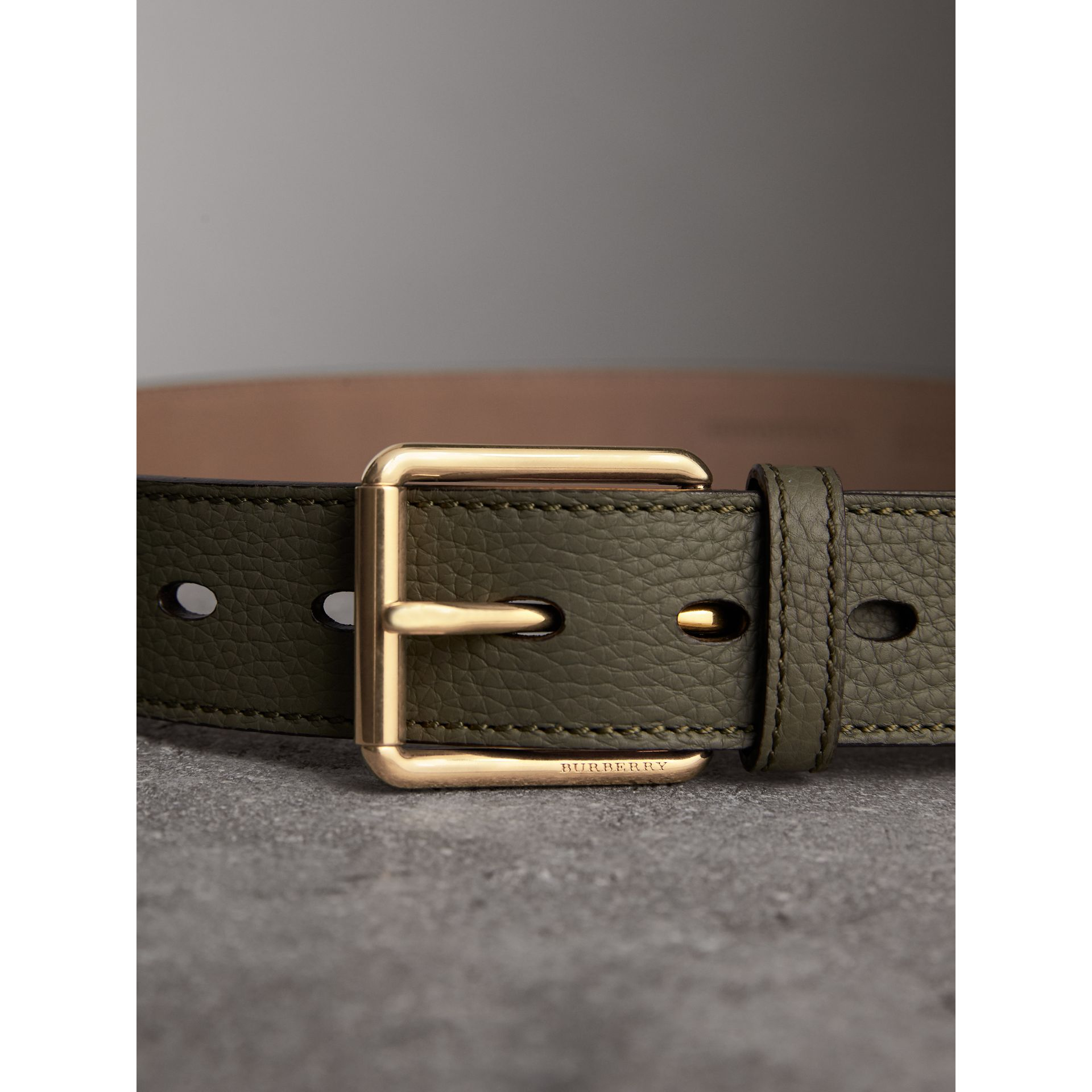 Grainy Leather Belt in Slate Green - Men | Burberry - gallery image 2