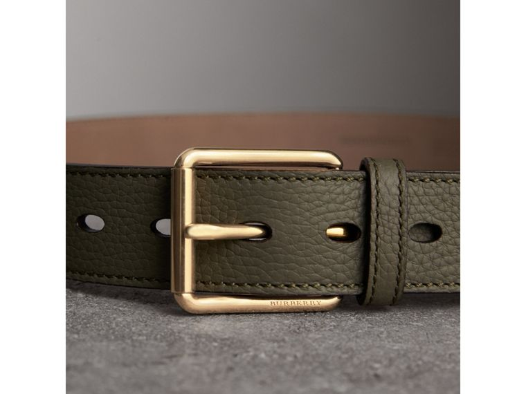 Grainy Leather Belt in Slate Green - Men | Burberry - cell image 1