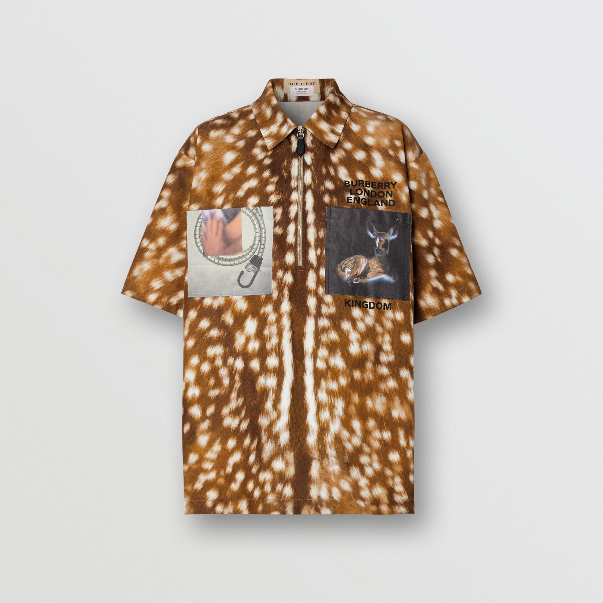 Short-sleeve Deer Print Cotton Oversized Shirt in Honey - Women | Burberry - gallery image 3