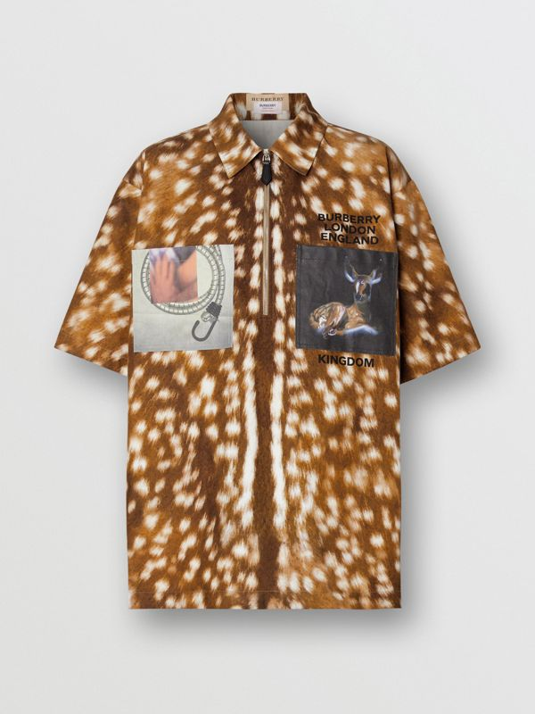 Short-sleeve Deer Print Cotton Oversized Shirt in Honey - Women | Burberry - cell image 3