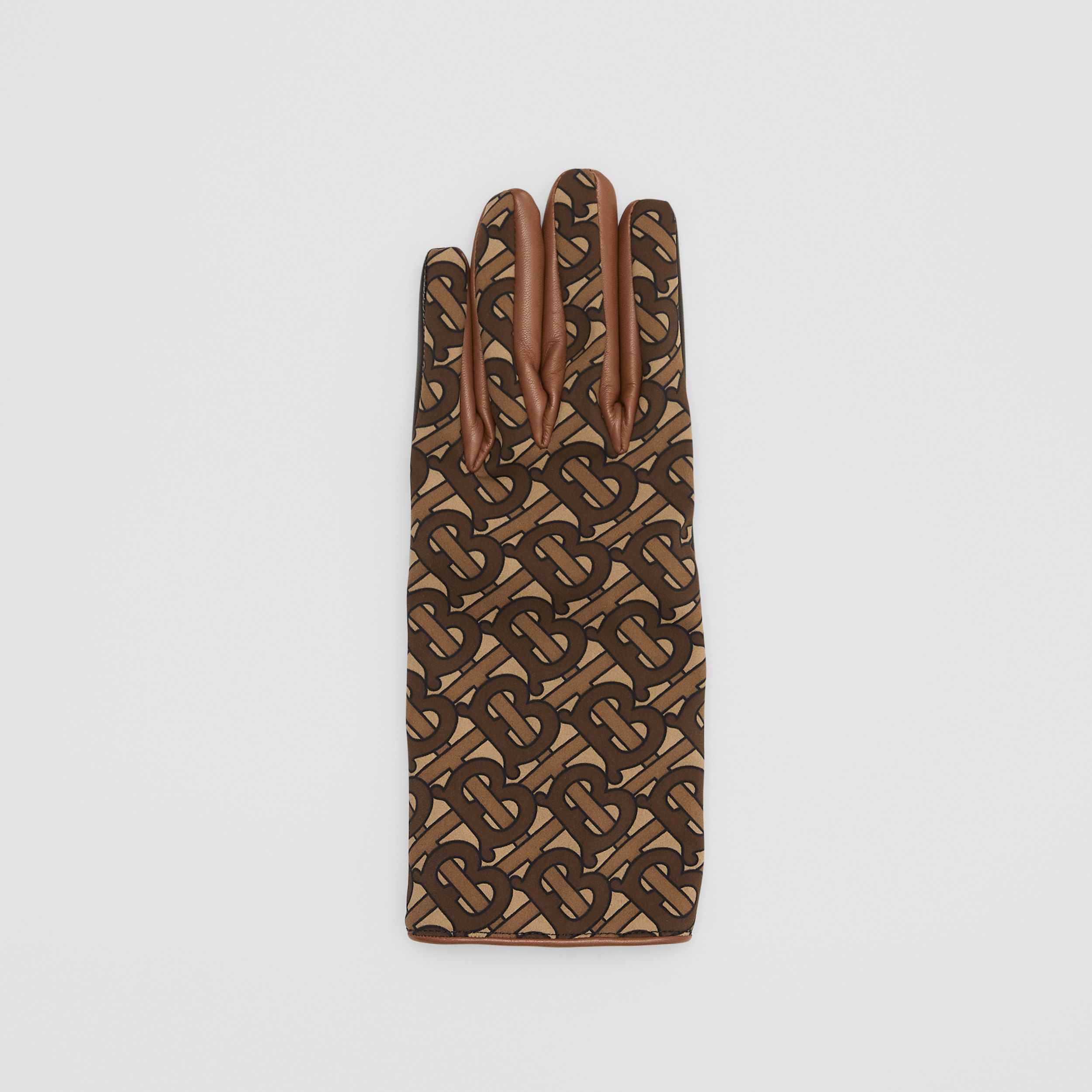 Cashmere-lined Monogram Print Lambskin Gloves in Bridle Brown - Men | Burberry - 3