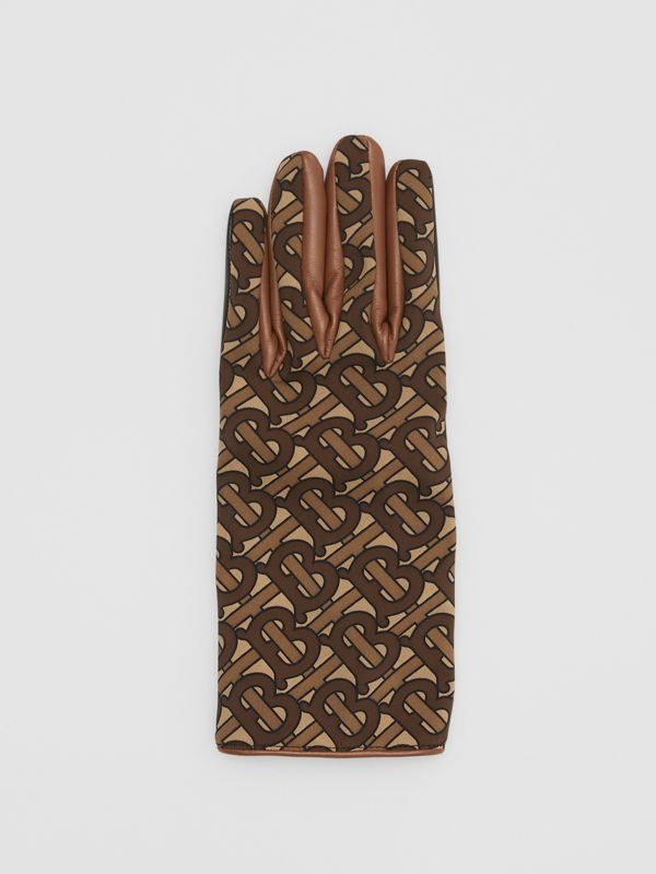Cashmere-lined Monogram Print Lambskin Gloves in Bridle Brown - Men | Burberry - cell image 2