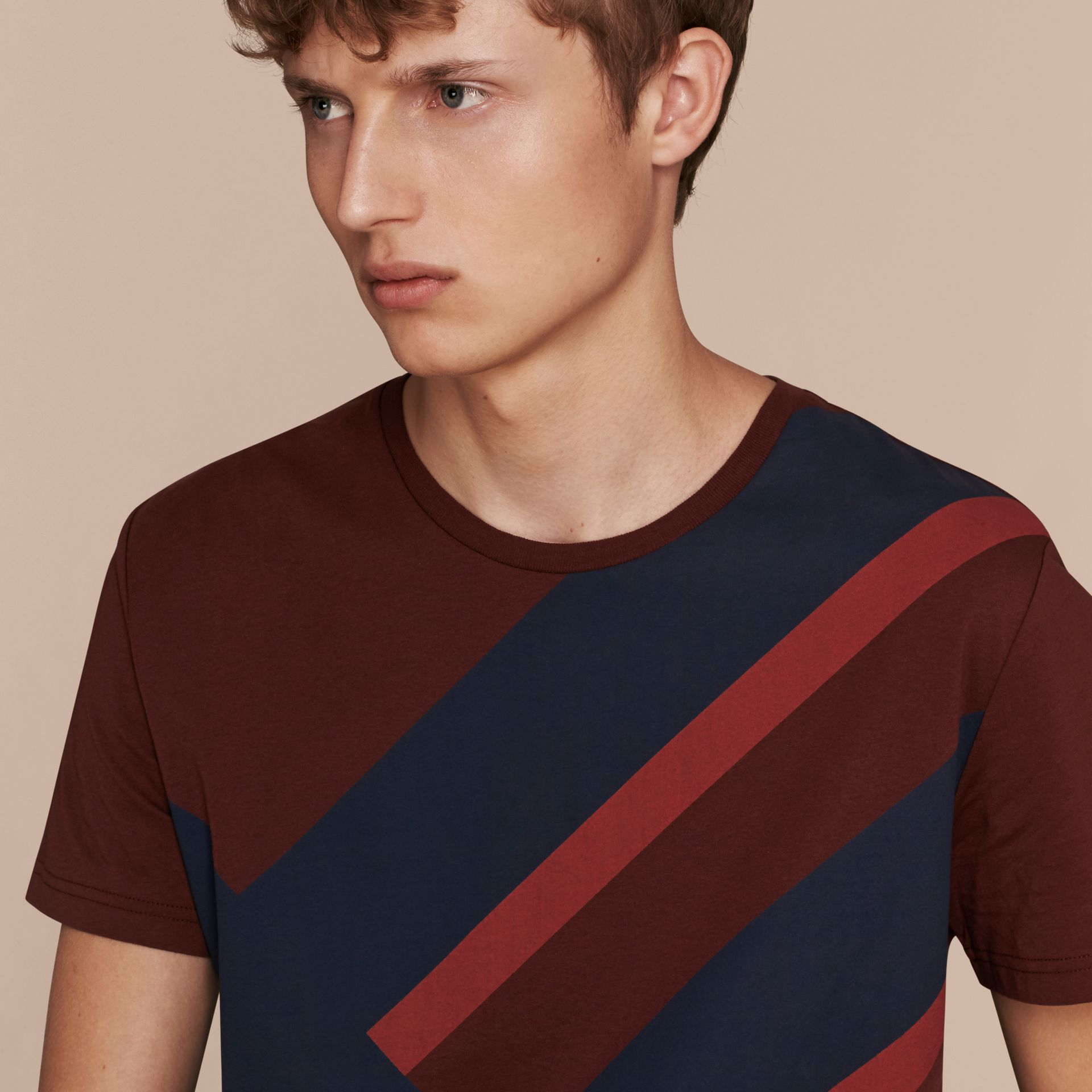 Abstract Check Print Cotton T-shirt Deep Claret - gallery image 5
