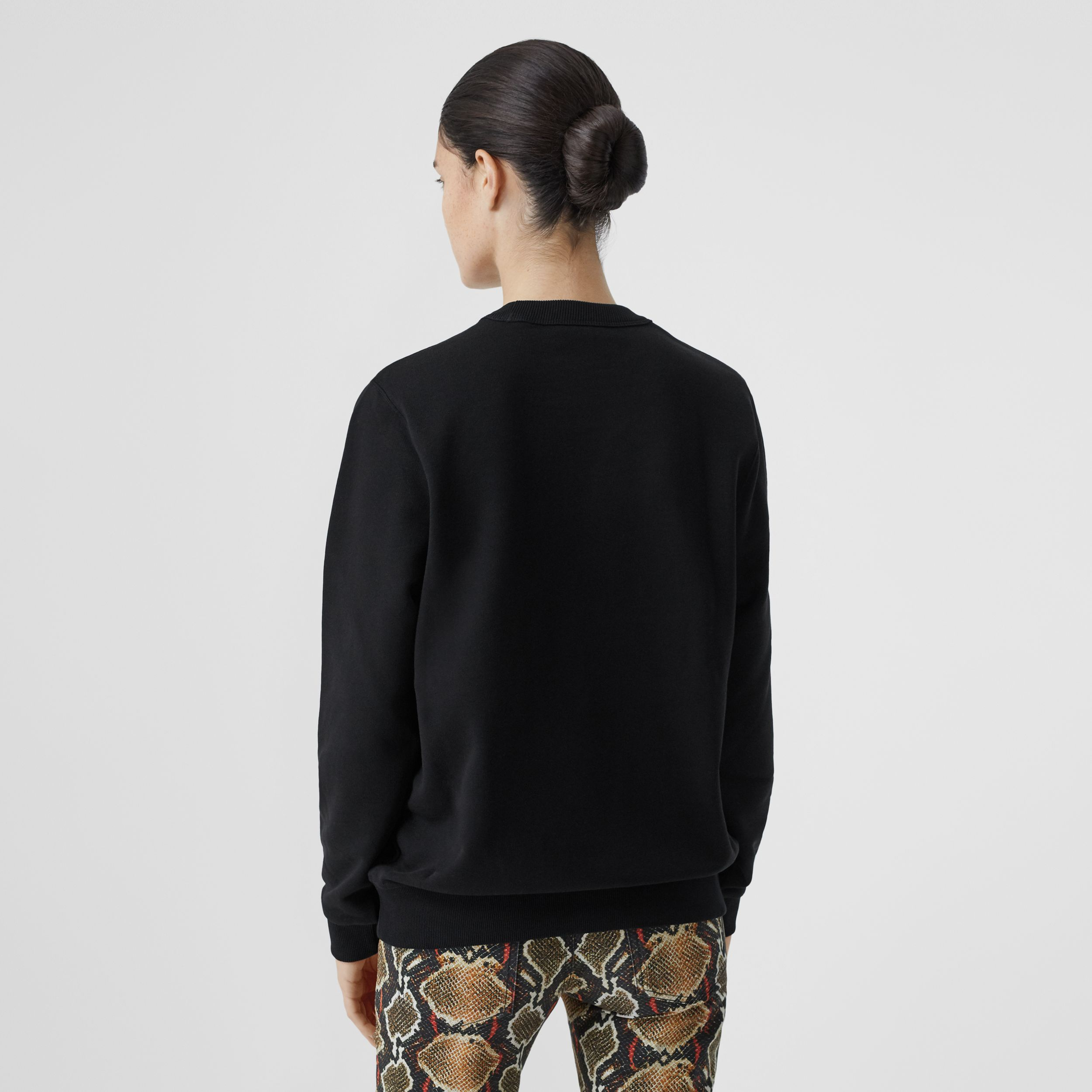 Monogram Motif Cotton Sweatshirt in Black - Women | Burberry - 3