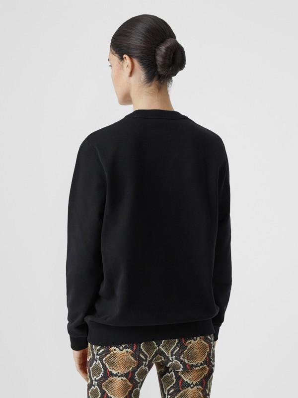 Monogram Motif Cotton Sweatshirt in Black - Women | Burberry United States - cell image 2