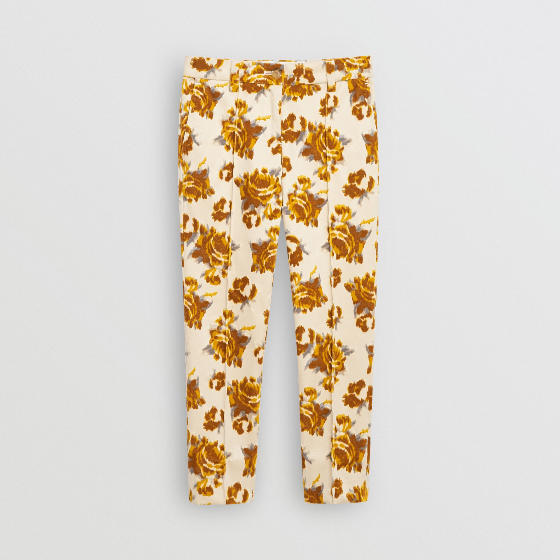 Floral Velvet Jacquard Trousers in Mustard Pattern - Children | Burberry United Kingdom - gallery image 0