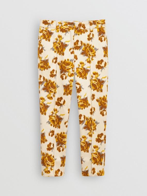 Calças de veludo em jacquard floral (Estampa Mostarda)