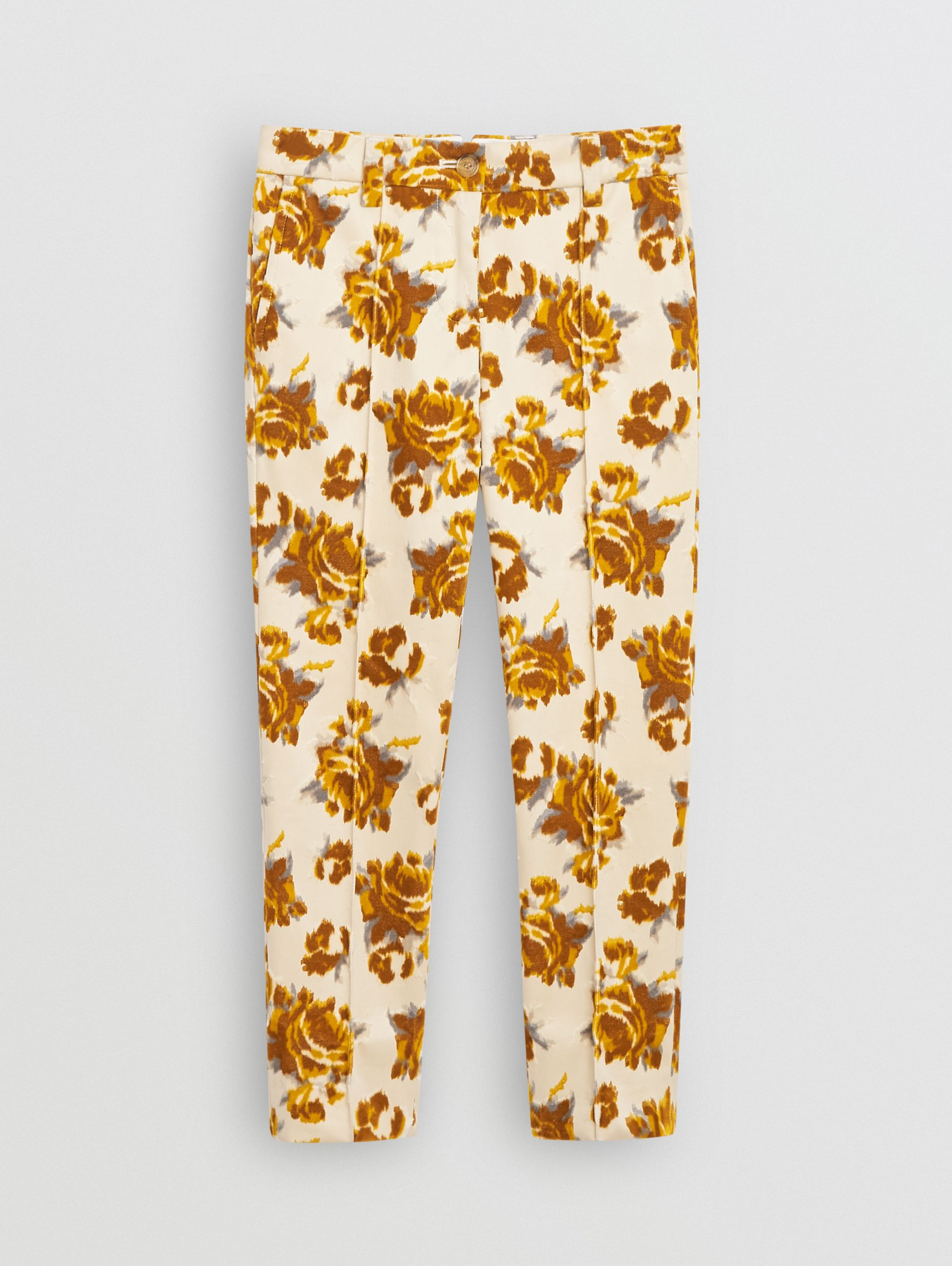 Floral Velvet Jacquard Trousers in Mustard Pattern - Children | Burberry - 1