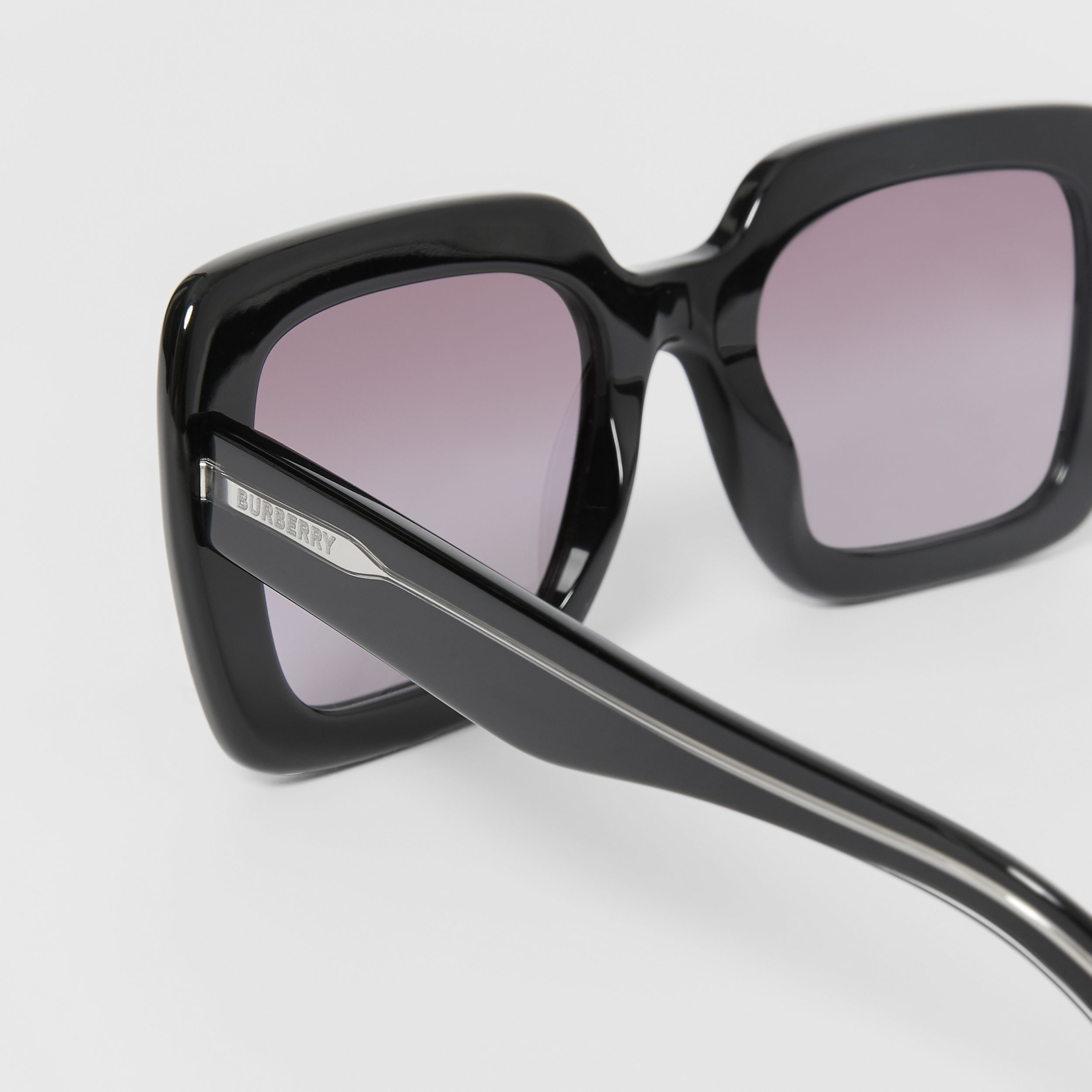 Oversized Square Frame Sunglasses in Black - Women | Burberry Singapore - 2