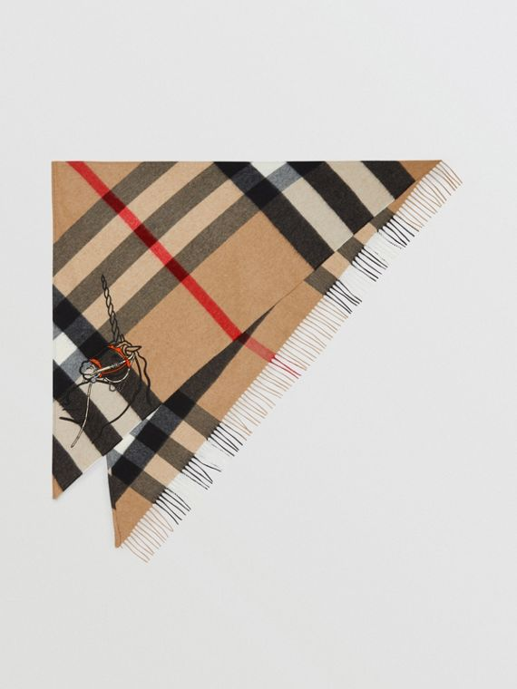 Unicorn Motif Check Cashmere Bandana in Camel