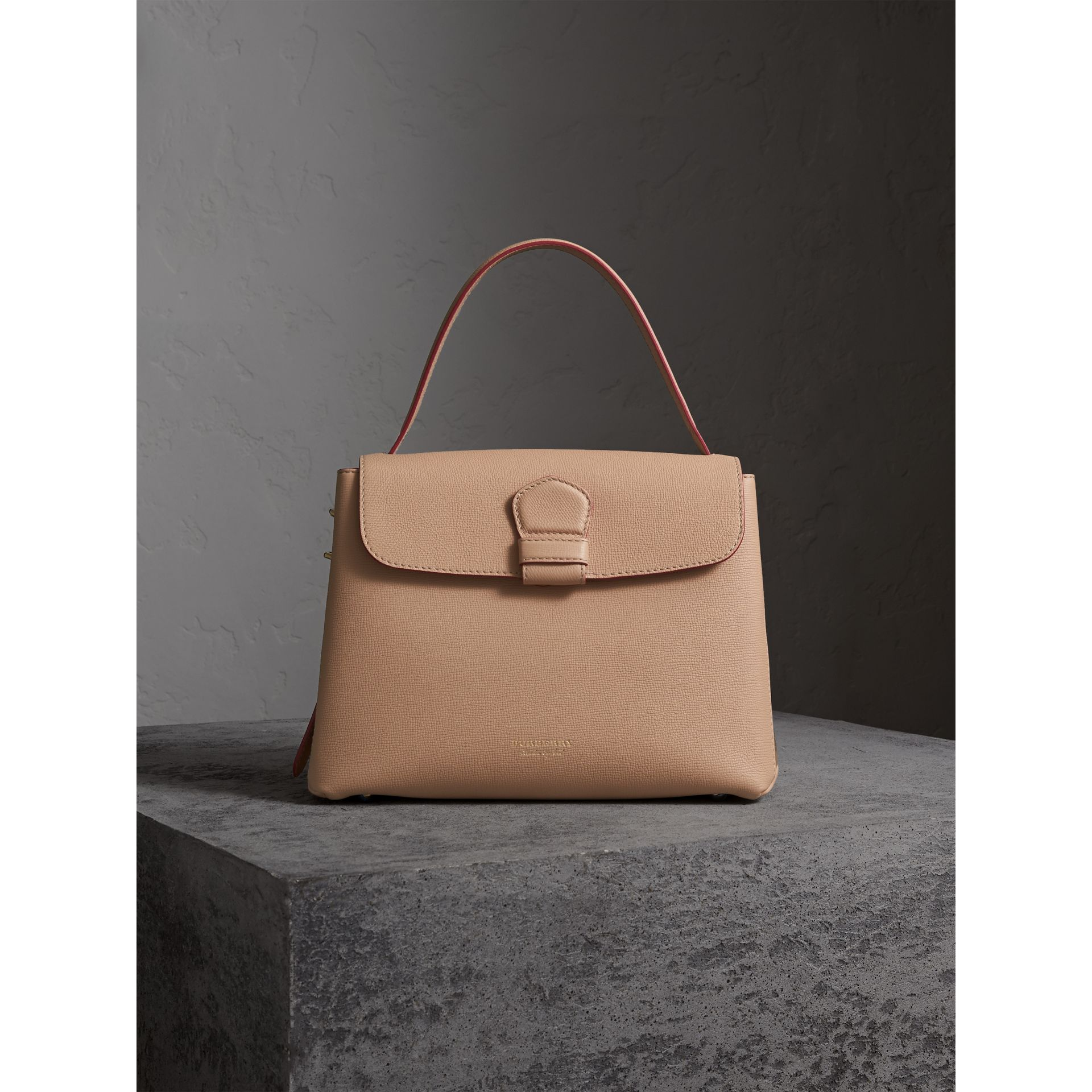 Medium Grainy Leather and House Check Tote Bag in Pale Apricot - Women | Burberry Singapore - gallery image 7