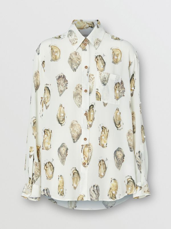 Embellished Oyster Print Silk Oversized Shirt in White - Women | Burberry - cell image 3