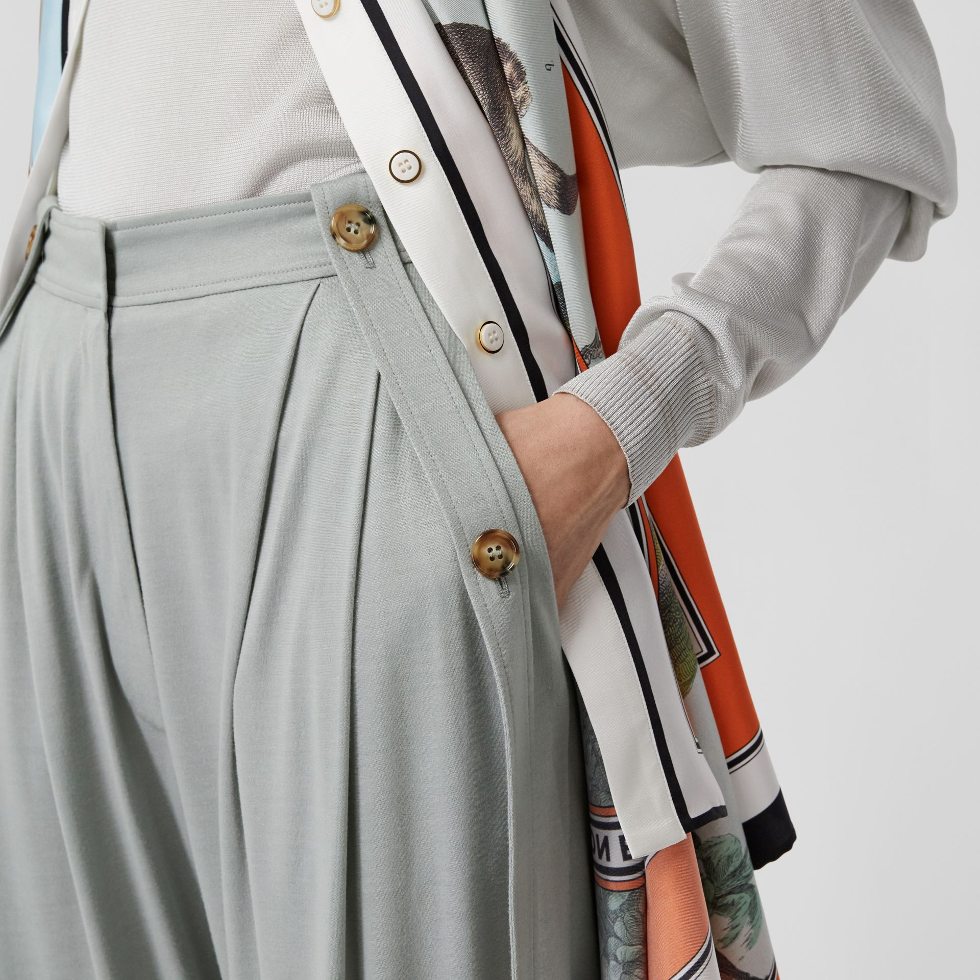 Strap Detail Jersey Tailored Trousers in Heather Melange - Women | Burberry - gallery image 5
