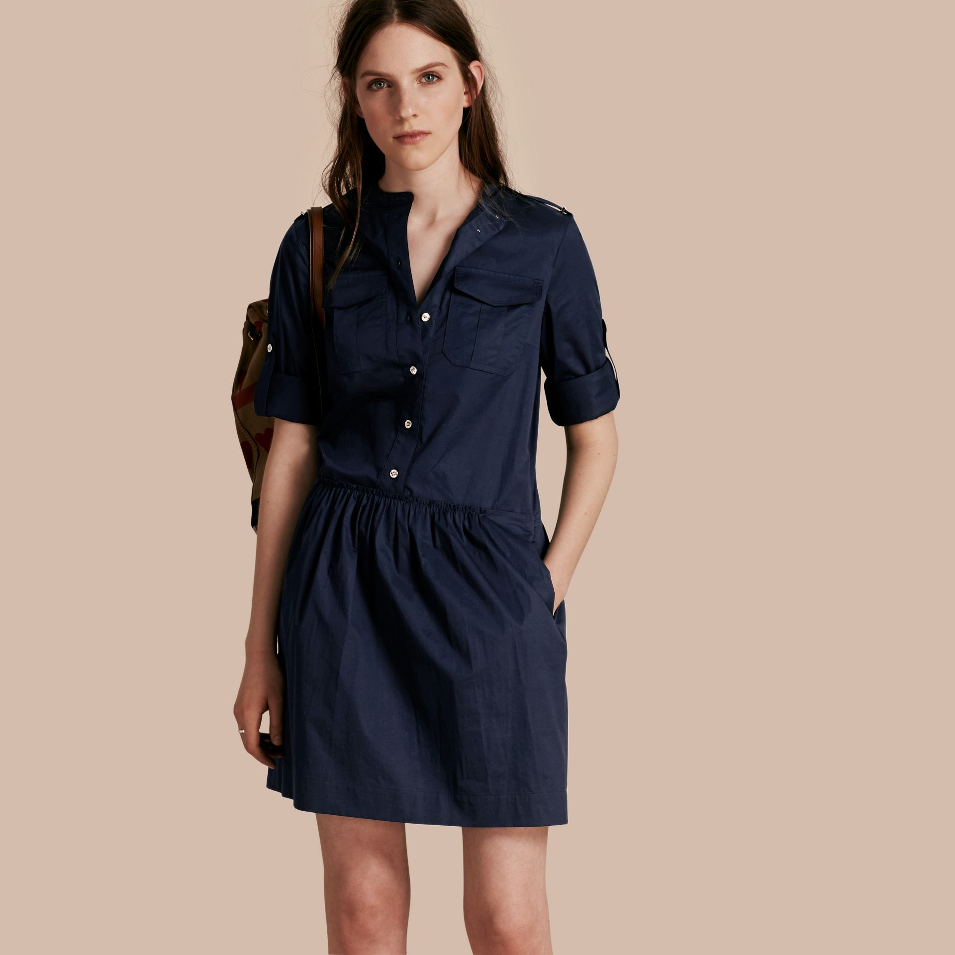 Dark pewter blue Military-inspired Cotton Blend Shirt Dress Dark Pewter Blue - gallery image 1