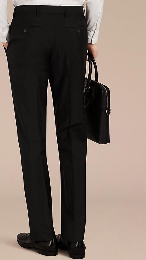 Black Slim Fit Wool Mohair Trousers Black - Image 2
