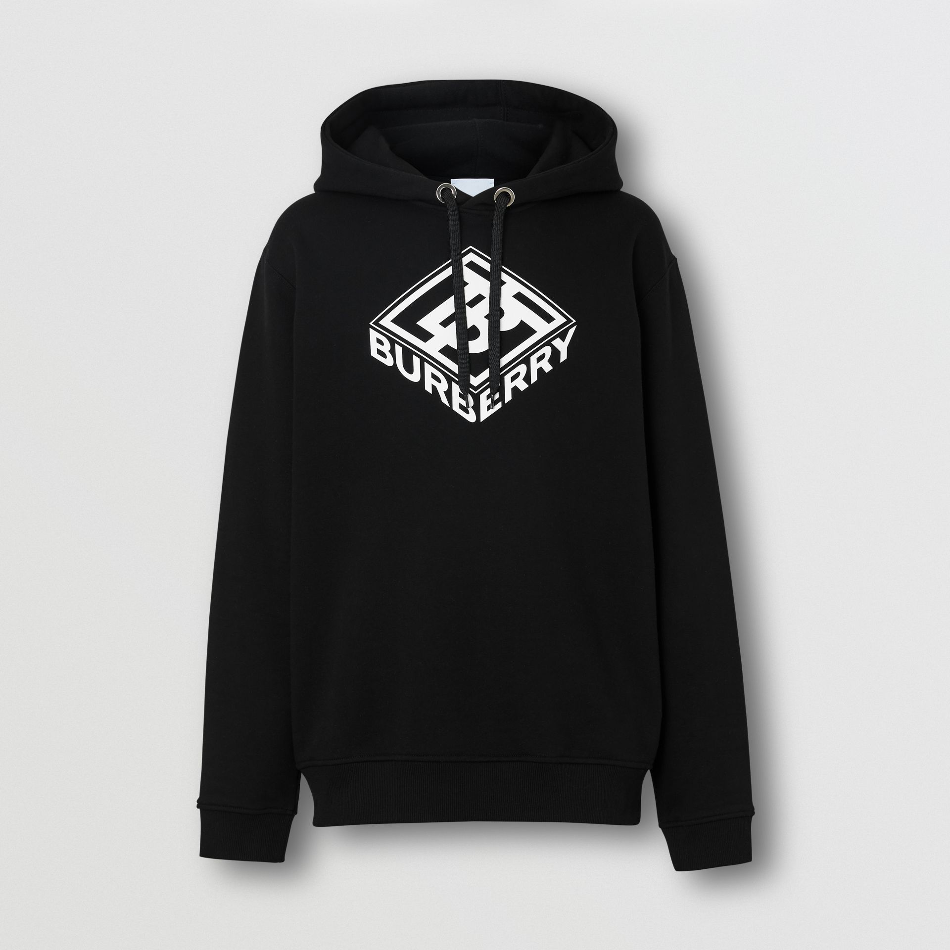 Logo Graphic Cotton Hoodie in Black - Men | Burberry Hong Kong S.A.R - gallery image 3