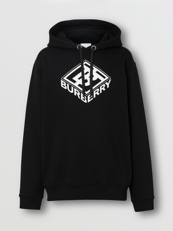 Logo Graphic Cotton Hoodie in Black