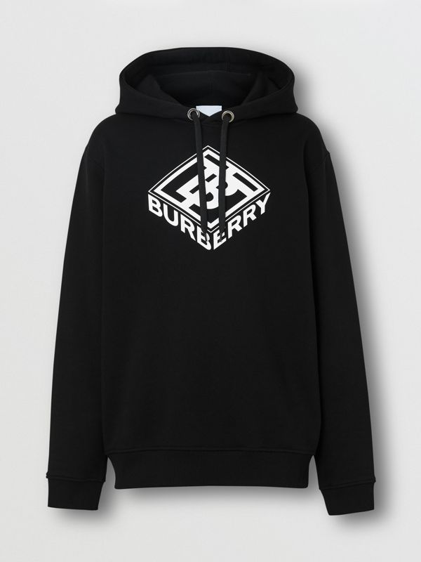 Logo Graphic Cotton Hoodie in Black - Men | Burberry Hong Kong S.A.R - cell image 3