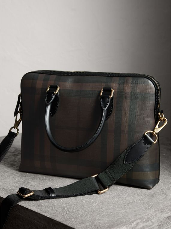 Pasta Barrow slim com estampa London Check (Chocolate/preto) - Homens | Burberry - cell image 3