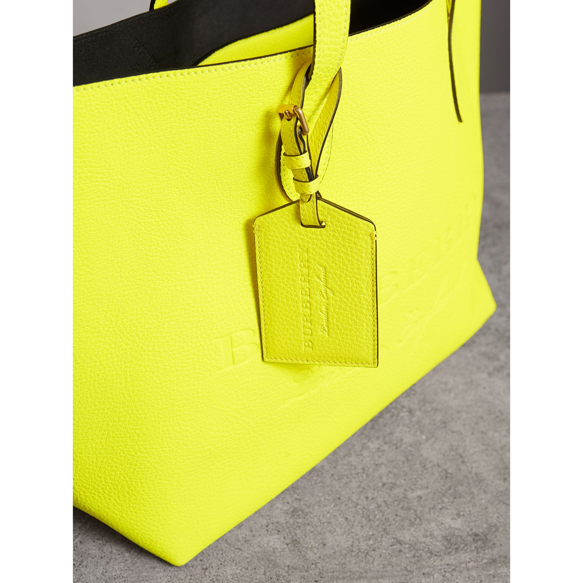 Embossed Leather Luggage Tag in Bright Yellow | Burberry Singapore - gallery image 3