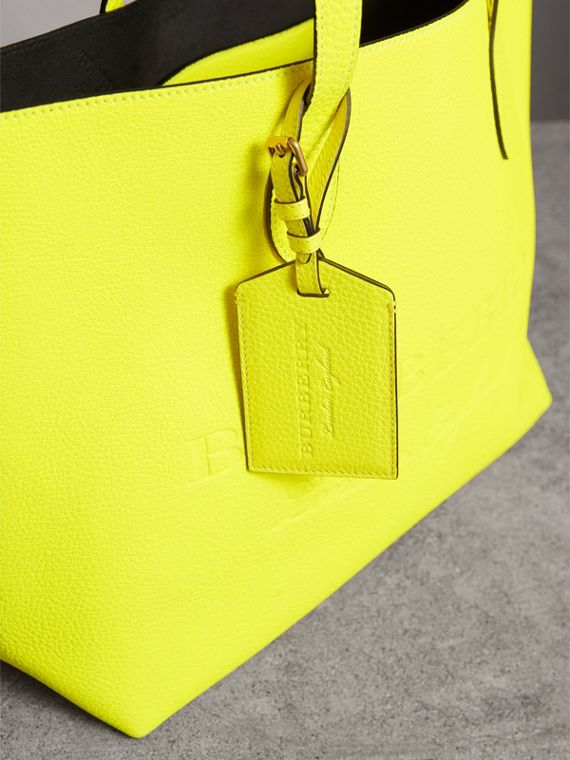 Embossed Leather Luggage Tag in Bright Yellow | Burberry Australia - cell image 3