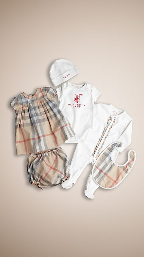 Pale classic check Cotton Six-Piece Baby Gift Set - Image 1