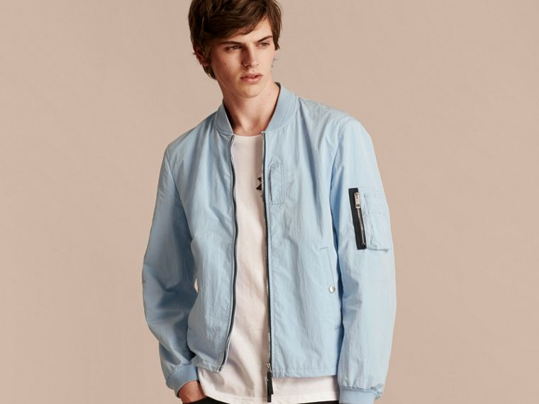 Light blue Lightweight Technical Bomber Jacket - cell image 4