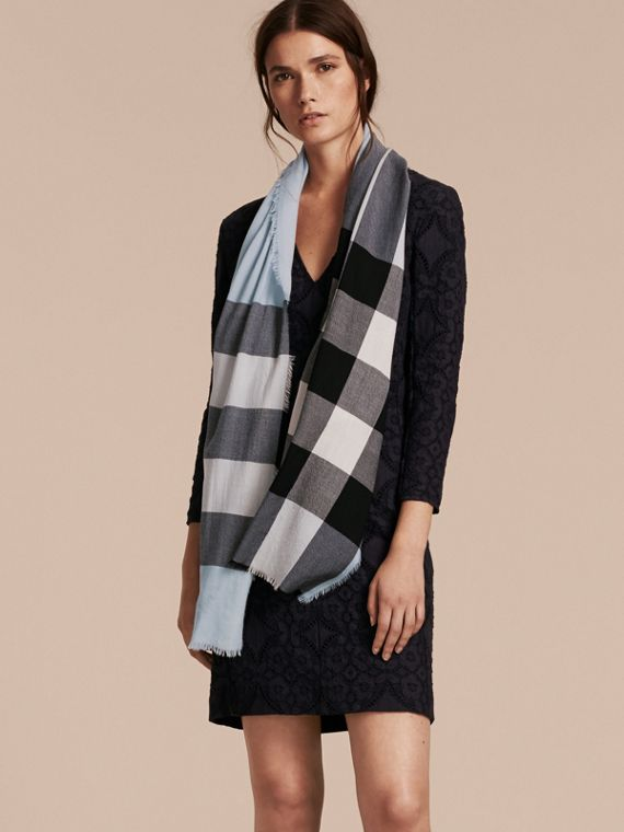 Lightweight Check Cashmere Scarf in Dusty Blue | Burberry - cell image 2