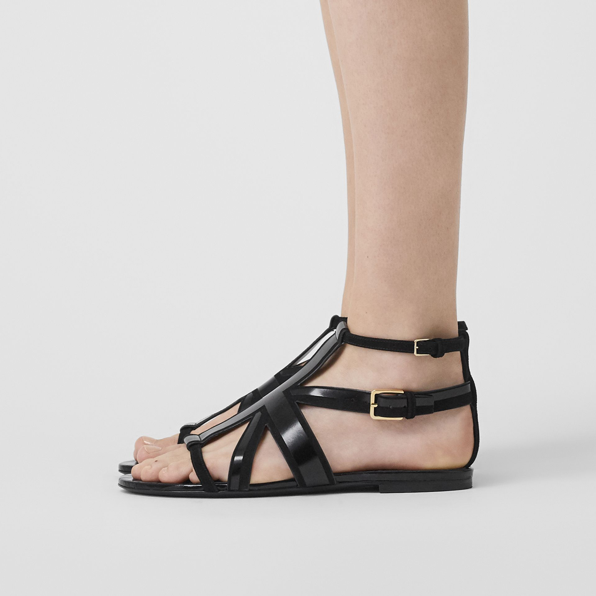 Union Jack Motif Leather and Suede Sandals in Black - Women | Burberry - gallery image 2