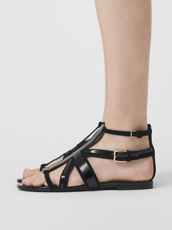 Union Jack Motif Leather and Suede Sandals in Black - Women | Burberry - cell image 2