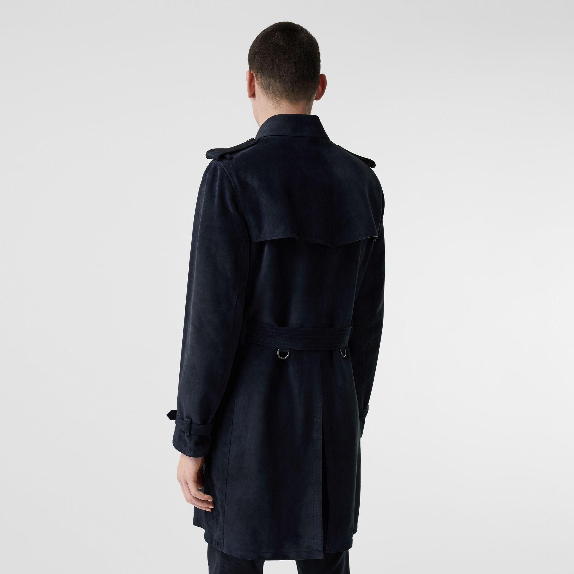 Suede Trench Coat in Navy - Men | Burberry United Kingdom - gallery image 2