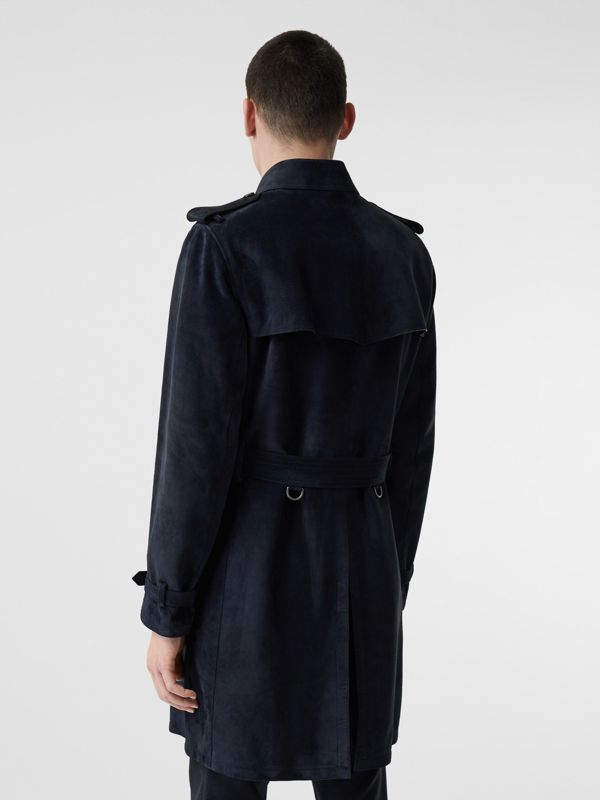 Suede Trench Coat in Navy - Men | Burberry - cell image 2