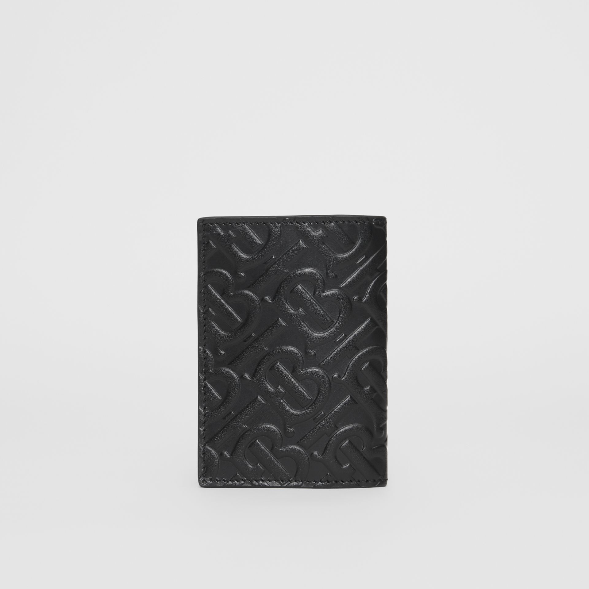 Monogram Leather Bifold Card Case in Black - Men | Burberry United States - gallery image 4