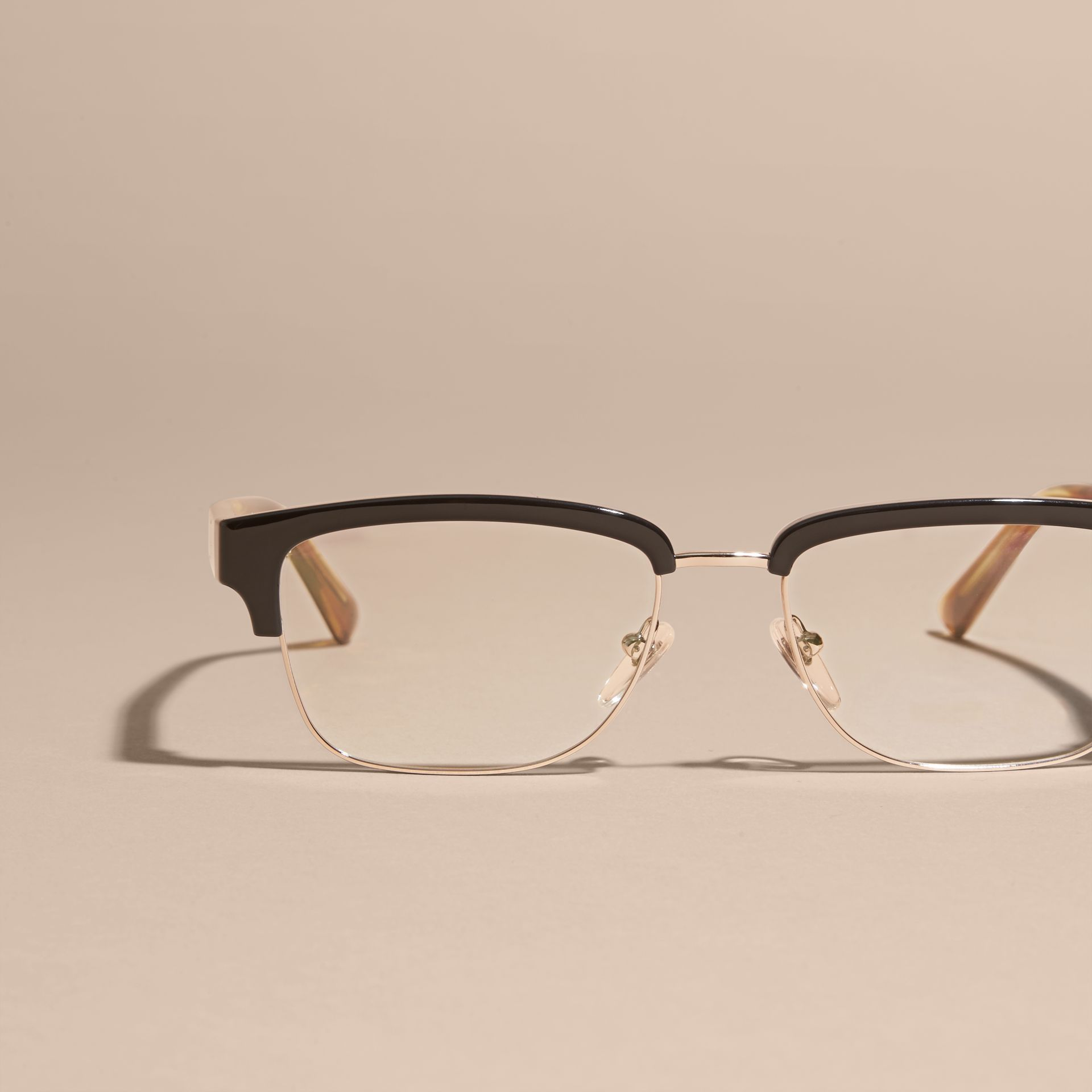 Burberry Half Frame Glasses : Half-rimmed Oval Optical Frames Black Burberry