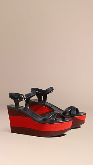 Canvas Check and Leather Wedge Sandals