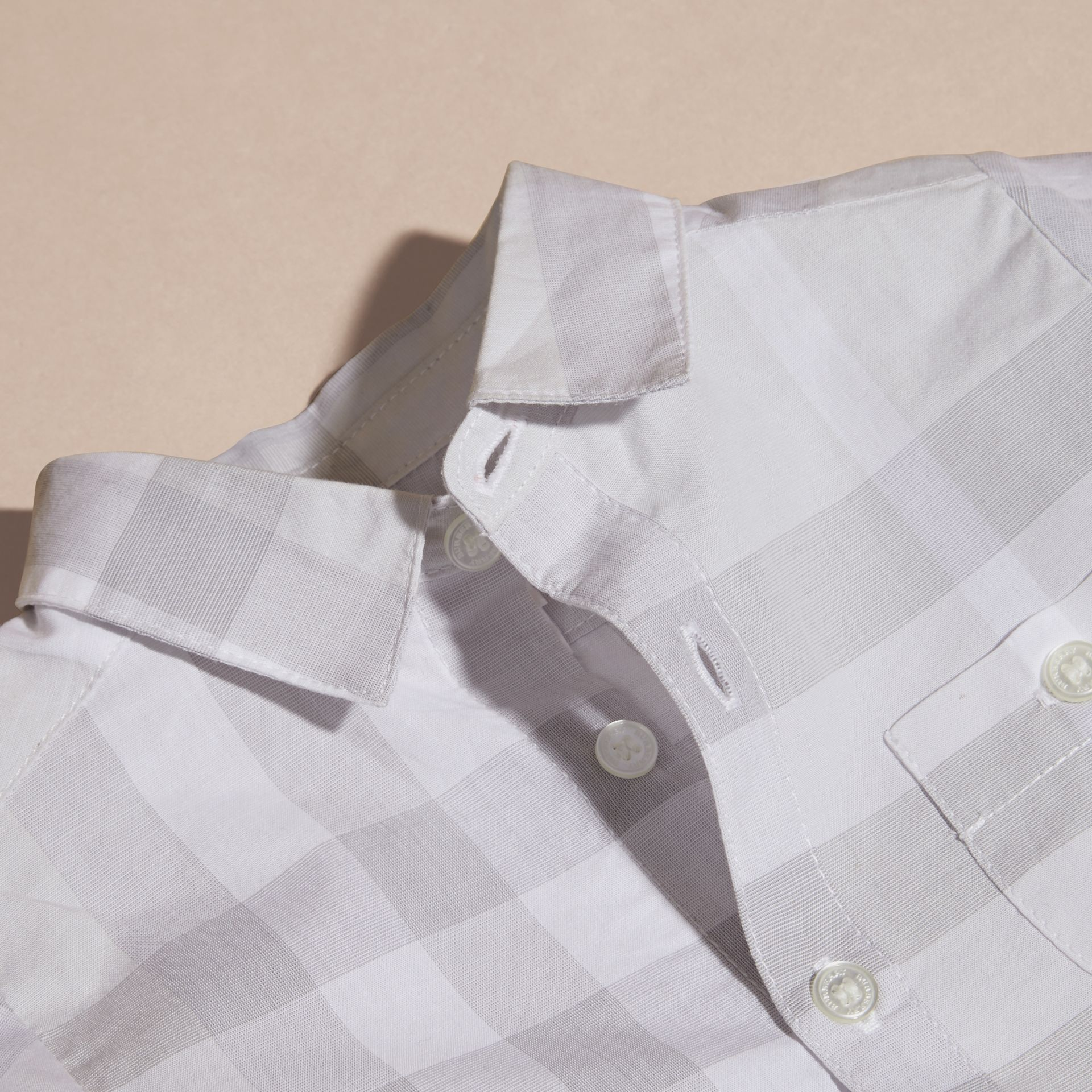 Washed Check Cotton Shirt Pale Grey - gallery image 2