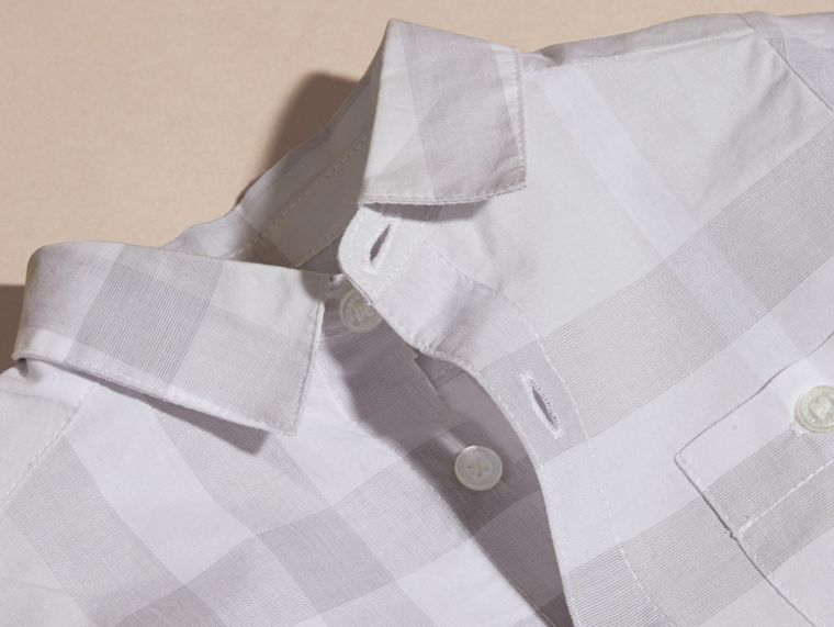 Washed Check Cotton Shirt Pale Grey - cell image 1