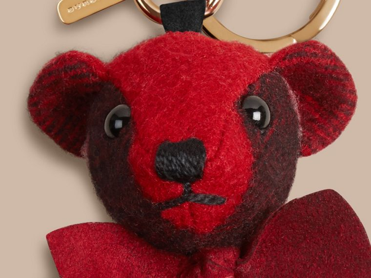 Thomas Bear Charm in Check Cashmere in Parade Red | Burberry - cell image 1